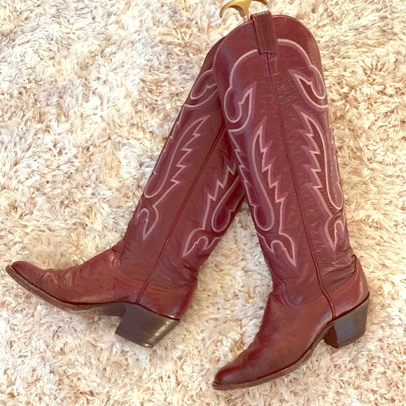 "5790d7a995f 18"" Tall Ostrich Leather Boots Larry Mahan Sz.6B"